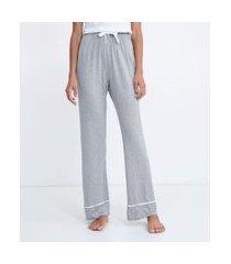 calça de pijama em viscolycra com detalhe contrastante na barra | lov | cinza | gg