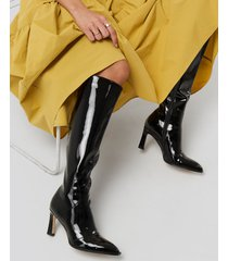 na-kd shoes glossy patent shaft boots - black