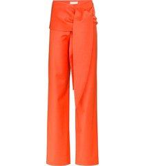 materiel tie-waist wide-leg trousers - orange