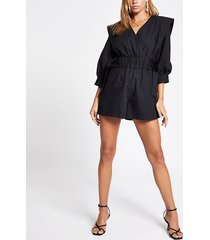 river island womens black ruched tie waist wrap playsuit