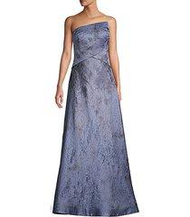 asymmetric jacquard strapless gown
