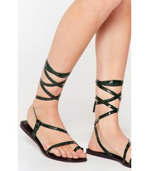 womens tie a little harder patent faux leather sandals - green