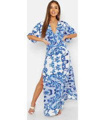 petite maxi jurk met laag decolleté, kimono mouwen en opdruk, blue
