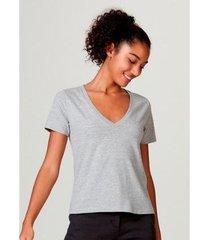 blusa básica hering em algodão com decote v feminina - feminino