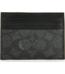 coach men's flat card case - charcoal/black