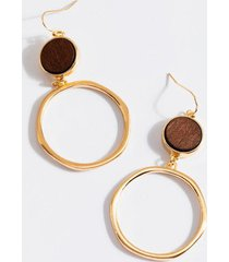 maddy wooden circle drop earrings - brown