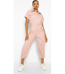 geweven jumpsuit met ceintuur en omgeslagen mouwen, roze