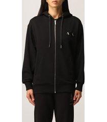 armani collezioni armani exchange sweatshirt logo beaded zip hood