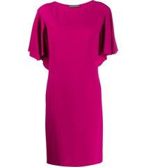 alberta ferretti boat neck shift dress - pink