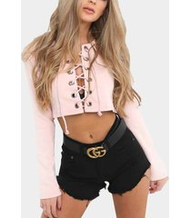 pink lace-up front crop top