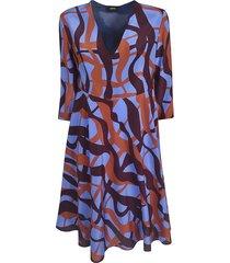 aspesi all-over printed v-neck dress