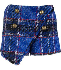 balmain asymmetrical blue tartan tweed shorts