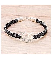 sterling silver and leather pendant bracelet, 'infinity way in black' (thailand)
