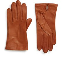 women's nordstrom lambskin leather gloves, size medium - brown