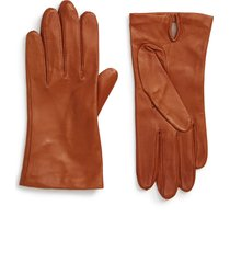 women's nordstrom lambskin leather gloves, size small - brown
