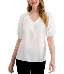 alfani petite smocked-shoulder top, created for macy's