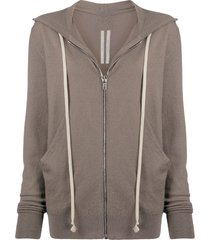 rick owens long drawstring cashmere knitted hoodie - brown