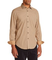 tallia men's slim fit beige geo long sleeve shirt and a free face mask with purchase