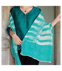 cashmere shawl, 'serenity blue' (india)