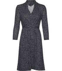 chinwe jersey v neck dress jurk knielengte blauw french connection