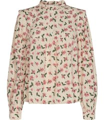 blouse met bloemenprint maylon  naturel
