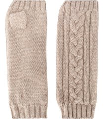 pringle of scotland fingerless cable-knit gloves - neutrals