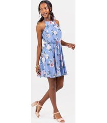 flawless dress floral in oxford blue - oxford blue