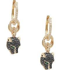 effy women's 14k yellow gold, emerald & black & white diamond drop earrings