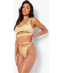 string bikini broekje met uitsnijding, gold