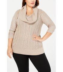 belldini plus size lurex cowl-neck sweater