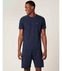 pijama bordado em malha malwee liberta azul escuro - p