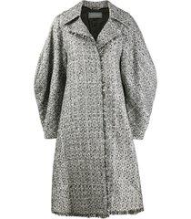 alberta ferretti tweed wide-sleeve coat - silver