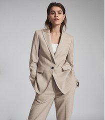 reiss emily - wool blend tailored blazer in oatmeal, womens, size 12