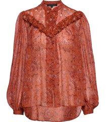 esi crinkle printed top blouse lange mouwen oranje french connection