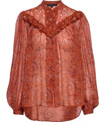 esi crinkle printed top blouse lange mouwen oranje french connection