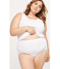 lane bryant women's cotton high-waist brief panty 34/36 white