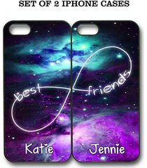personalized mint purple nebula bff best friends case - 2 cases for iphone 6s 5s