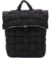 bottega veneta fold-top padded backpack - black