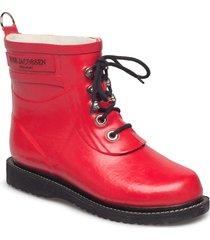 rain boot - ankle, classic with laces regnstövlar skor röd ilse jacobsen