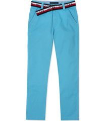 tommy hilfiger big boys david stretch blue pants with d-ring logo belt