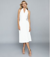 reiss arielle - pleated midi skirt in white, womens, size 12