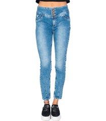 jeans sculpture tres botones azul efesis