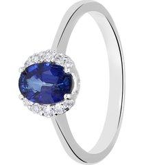 anello in oro bianco, zaffiro 0,80 ct e diamanti 0,09 ct per donna