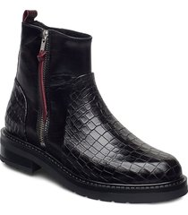 heidi croco shoes boots ankle boots ankle boot - flat svart pavement