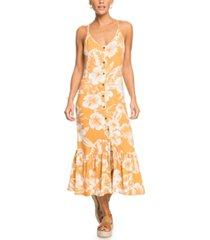 roxy seaside state printed midi dress
