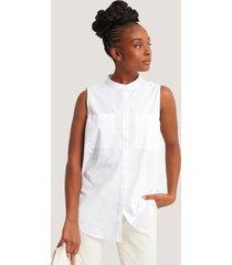 na-kd classic ärmlös skjorta med ficka - white