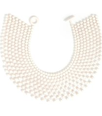 bone small beaded necklace, women's, white, cotton, josie natori