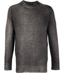 avant toi crew neck longline sweater - grey