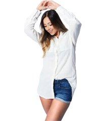 vestido camisero tela lino algodón para color siete mujer - blanco