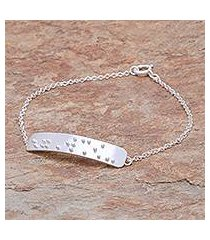 sterling silver pendant bracelet, 'braille courage' (thailand)